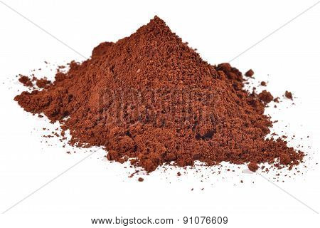 Heap Of Ground Coffee On A White