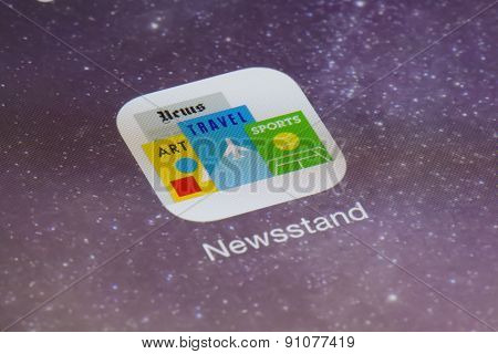 Close-up of Newsstand app on an iPad