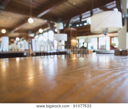 Table Top With Blurred Library Room Interior Background