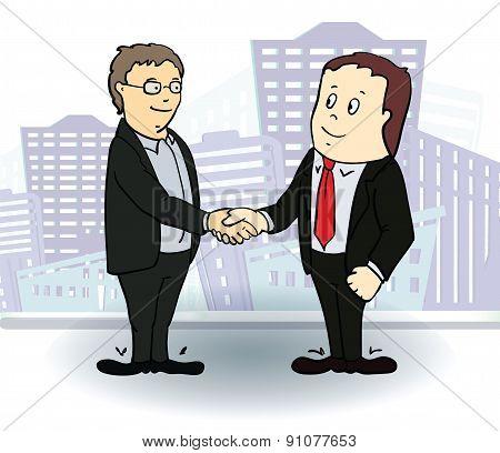 Full length side view of businessmen shaking hands. Vector illustration