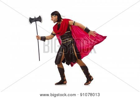 Gladiator holding ax isolated on white
