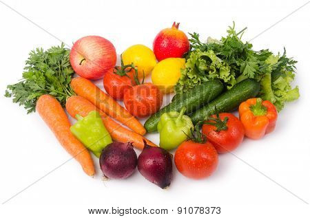 Assorted vegetables isolated on the white