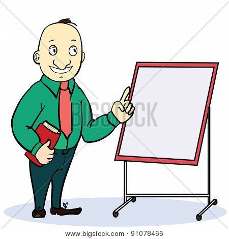 Cartoon businessman in glasses with a briefcase giving the thumbs up, explaining and pointing at bla