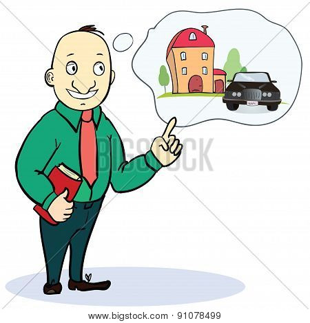 Mortgage and credit concept. Man planning his future