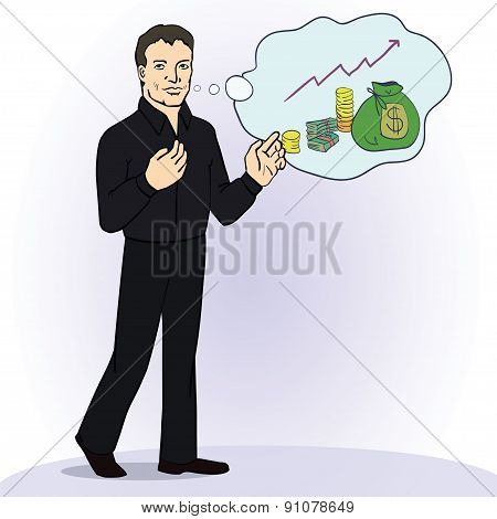 Illustration of smiling businessman standing think about money. Successful business concept