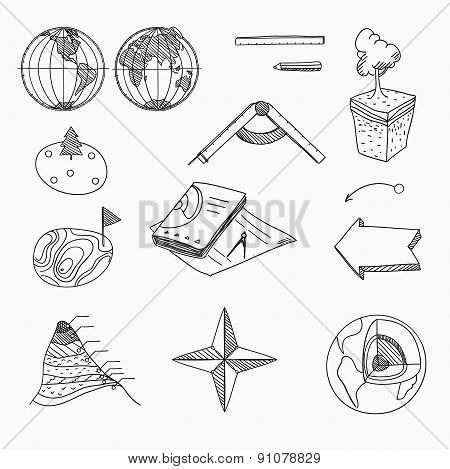 Geography lesson School objects and educational equipment Cartography topography Education linear ha