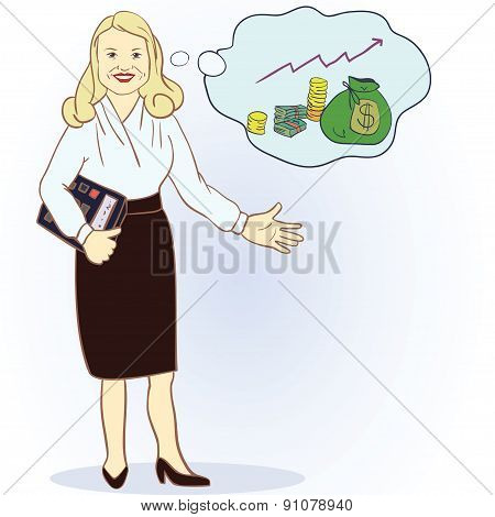 Business woman with a calculator and a full bag of money