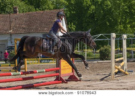 Blonde Young Horsewoman Is Jumping