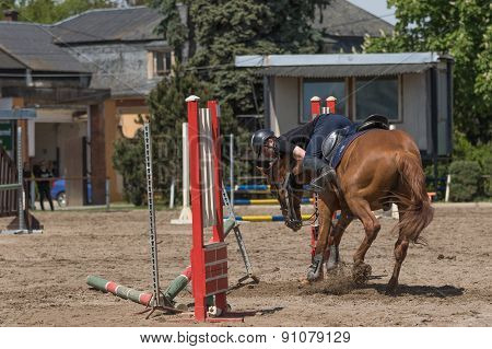 The Horse Refused To Jump Over An Obstacle