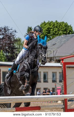 Color-matched Horsewoman And Horse Are Jumping