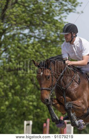 Closeup Of Horseman Jumping. Vertically.