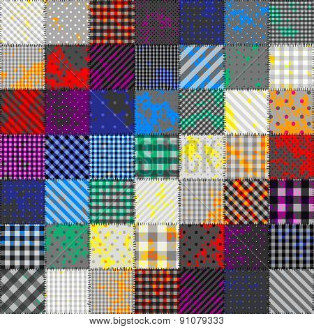 Patchwork of fabric in rainbow colors.