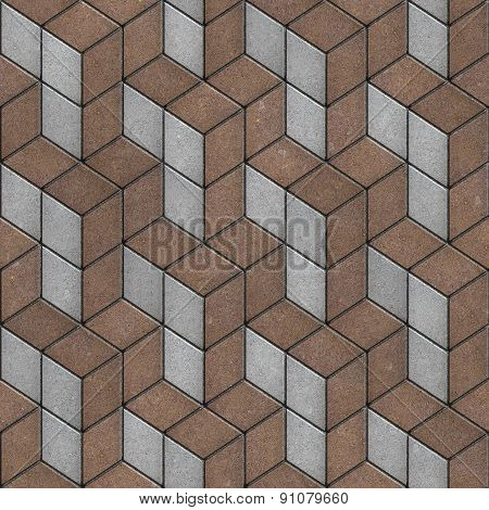 Pattern of Rhombuses of Brown and Gray Pavement.