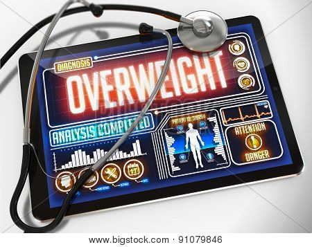 Overweight on the Display of Medical Tablet.