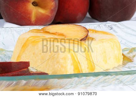 Heart Shaped Peach Bavarian Cream Dessert (bavarese)