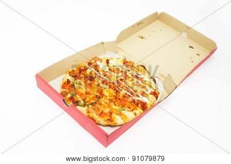 Pizza In Paper Box Isolate