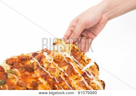 Woman Hand Pick Up Pizza Isolated
