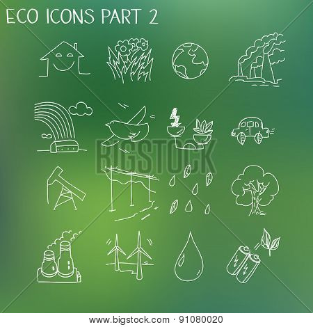 Ecology organic signs eco and bio elements in hand drawn style nature planet protection care recycli