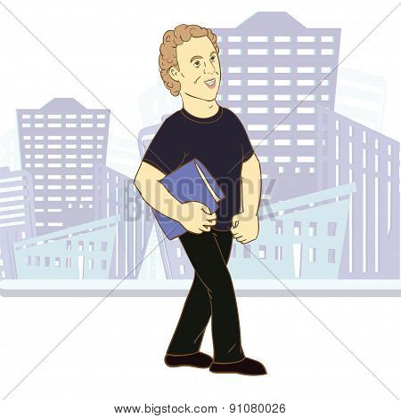Young man, cartoon character.  Vector illusrtatin