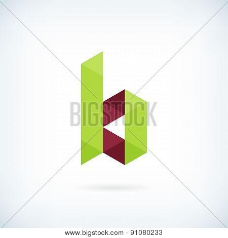 Modern Letter B Icon Flat Design Element Template