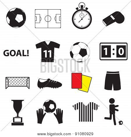 Soccer Football Simple Black Icons Set Eps10