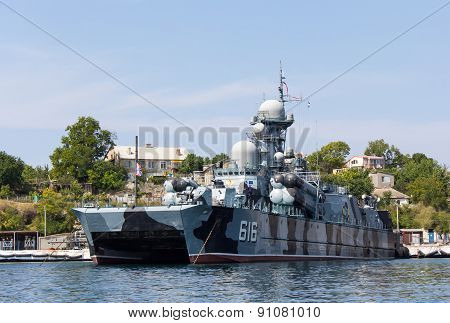 Ukraine, Sevastopol - September 02, 2011: Russian Ship With Missile Weapons Hovercraft