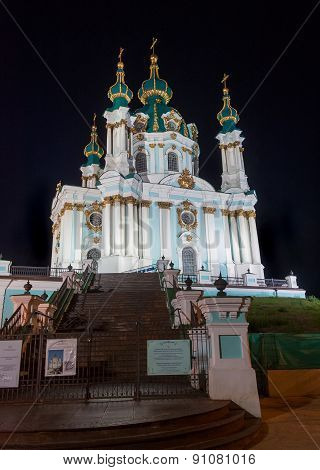 Kiev, Ukraine - September 09, 2013: Andrew's church in Kiev at night lighting