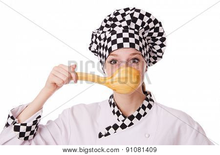 Female chef isolated on white