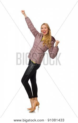 Pretty girl in winter jacket isolated on white