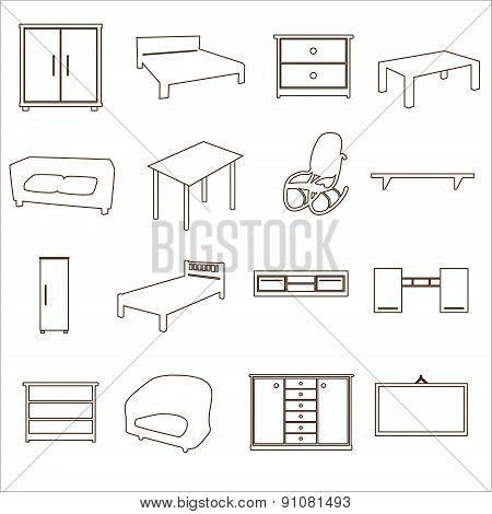 Home Furniture Types Outline Icons Set Eps10