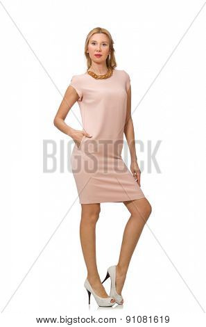 Beautiful lady in pink dress isolated on white