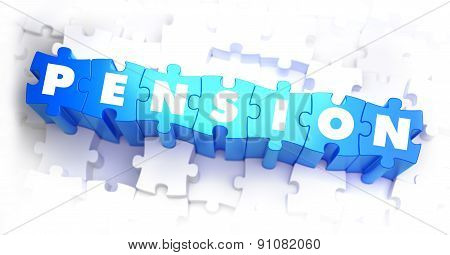 Pension - Text on Blue Puzzles.
