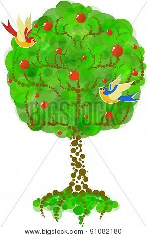 Stylized Green Apple-tree With Apples And Two Birds