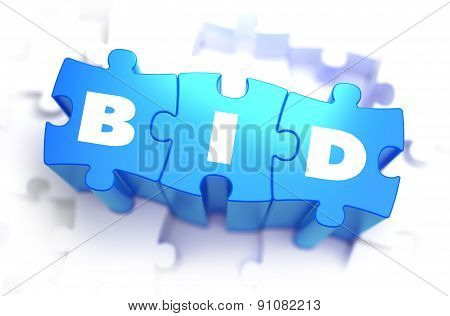 Bid - White Word on Blue Puzzles.