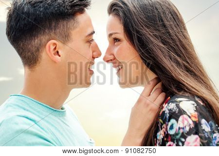 Close Up Of Couple Showing Affection.