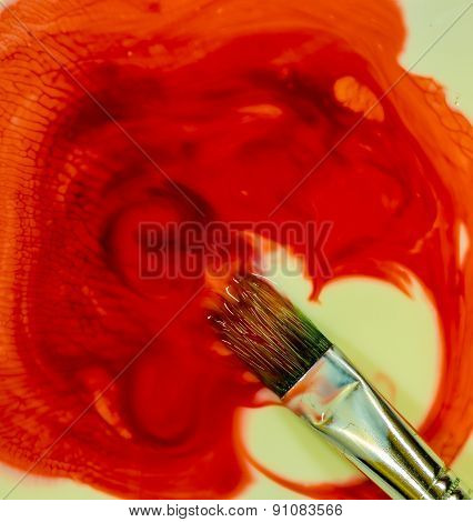 Red Color Paint Brush