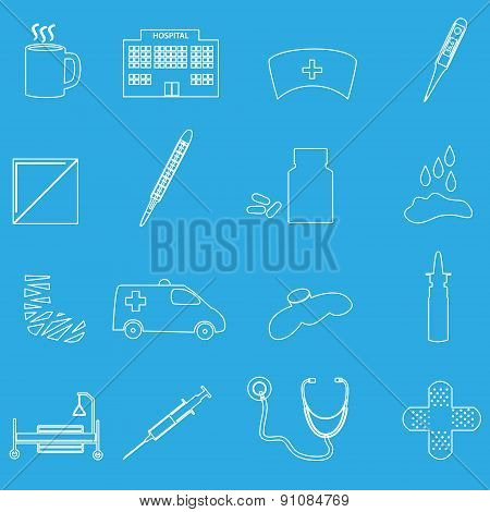 Hospital And Sick Outline Icons Set Eps10
