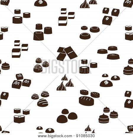 Sweet Chocolate Truffles Icons Seamless Pattern Eps10