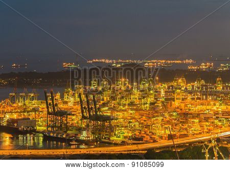 Singapore container port during evening hours