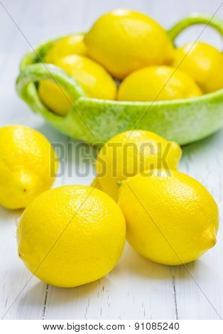 Group Of Lemons On The Wooden Table