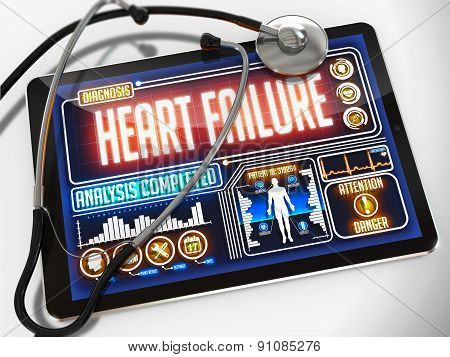 Heart Failure on the Display of Medical Tablet.