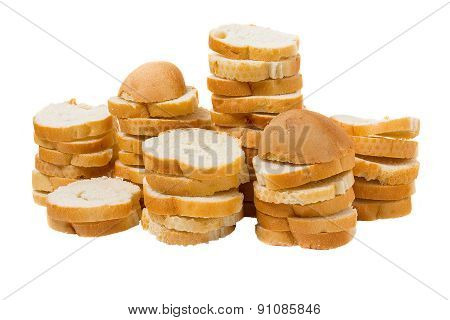 Sliced French Baguette Isolated On A White Background