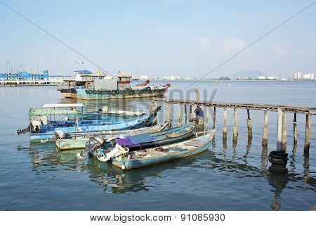 Wooden Fisherman Boat On Water