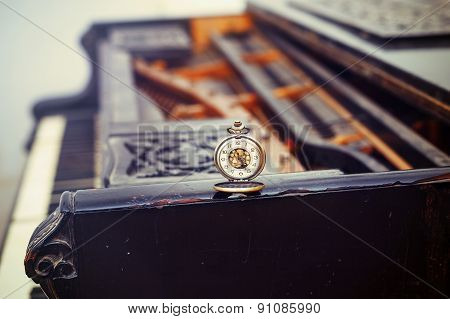 Vintage Piano Keys With Antique Pocket Watch - Time Concept