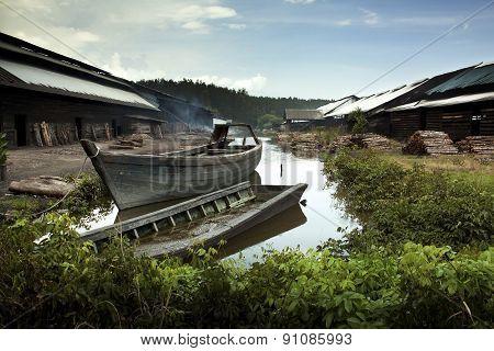 Wood Boat At The River