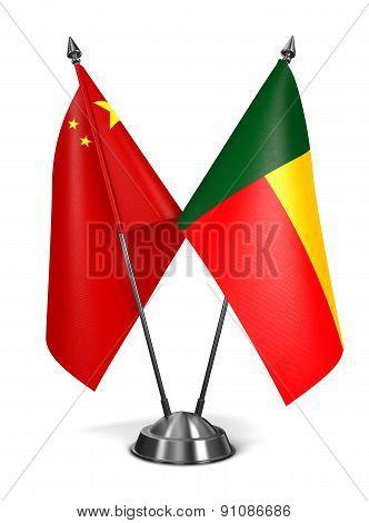 China and Benin - Miniature Flags.