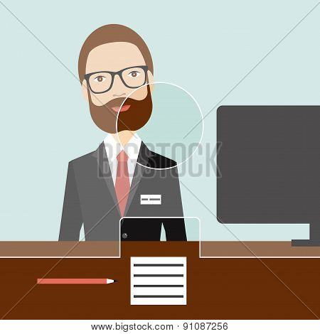 Man Clerk In A Bank. Flat Vector.