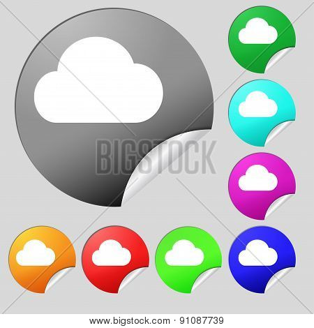 Cloud  Icon Sign. Set Of Eight Multi-colored Round Buttons, Stickers. Vector