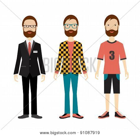 Man Outfit To Office, Casual And Sport. Flat Illustration.