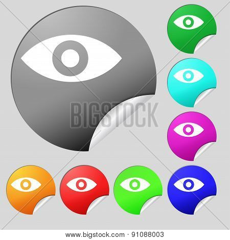 Eye, Publish Content, Sixth Sense, Intuition  Icon Sign. Set Of Eight Multi-colored Round Buttons, S
